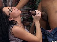 Katrina is a single milf, who desperately needs cock. A big black cock is even better. She seduces the hot stud and starts masturbating her wet cunt in front of him. She is not wearing panties, only black stockings, which makes a better view....