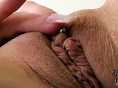 Paige Delight with big hooters and bald beaver is curious about toy fucking her love hole on camera