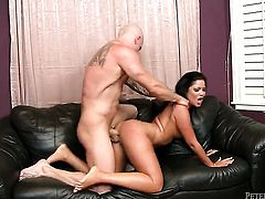 Breathtakingly beautiful gal Domenic Kane enjoys guys beefy stiff cock in her sweet mouth