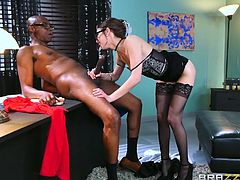 It seems that this psychologist is able to find a common language with every patient. Black guy came to her, while in a deep depression and she helped him and gave him back his taste for life in just a few minutes. Her hairy pussy works wonders! Enjoy interracial blowjob and pussy licking.