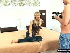 Rose is a sexy blonde Czech trying out for a role in a porno movie. She's new to making porn, but shows she has what it takes, sensually stroking, sucking and fucking her partner like a true pro. The look she gives him as she strokes his cock to climax is enough to make most men cum, by itself!