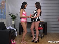 Rachele Richey and Lady Dee are playing together. Young lesbians tickle each other, while kissing and cuddling. In a fit of passion, Lady Dee pisses on her lover, making her wet, literally. This golden shower perfectly reflects their sensitivity and lecherousness. Enjoy this pissy pleasure!