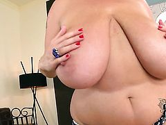 Laura Orsolya aka Laura M. with giant melons and trimmed bush is curious about playing with herself on cam