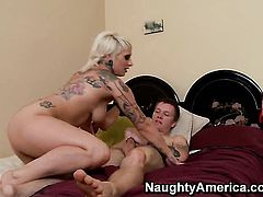 Blonde Patrick J. Knight with big butt and smooth cunt gives tugjob to guy she wants to fuck