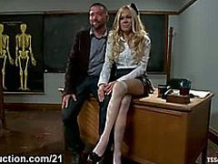 Breasty blond shelady anal copulates her teacher in s&m act