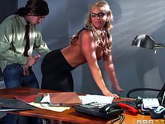 Phoenix Marie is the receptionist in our company. She was told to be friendly with customers, but she took it in a wrong way. When the customer arrived at her table, she opened her bra, as a sign of friendly nature. Blowjob, tit job and pussy licking by lifting the leg, was given as a refreshment by her.