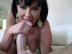 Hot and seductive milf with huge boobs loves to play with big and hard dicks. Her sucking skills are unmatchable. She sucks Manuel's dick with so much passion, that he can easily fall in love with her. She's the one you just can't ignore.