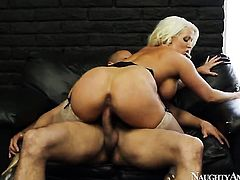 Blonde exotic Alura Jenson with round booty and clean twat takes dudes love torpedo from behind