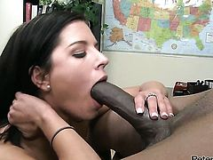 Flash Brown cant get enough and takes guys sturdy man meat in her mouth over and over again
