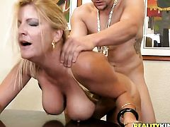 Blonde Robbye Bentley with giant breasts and hairless muff and a lucky guy enjoy oral sex they wont soon forget