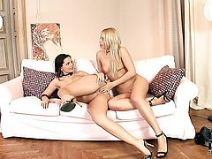 Brandy Smile with tiny boobs and hairless pussy does striptease before playing with her snatch