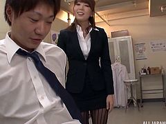 When the teachers are finished grading their papers, they like to have a little bit of alone time. The sexy prof in her suit and pantyhose meets with her colleague in the examination room for some hot sex. She rubs and kisses him all over.