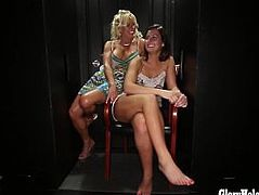 Gloryhole Secrets 2 babes suck cock together