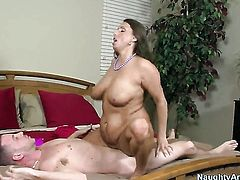 Brunette asian Stacie Starr with bubbly bottom and trimmed cunt has fire in her eyes as she gets cum soaked after sex with hot guy