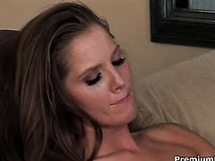 Penny Flame gets her nice face painted with cock juice after sex with horny dude