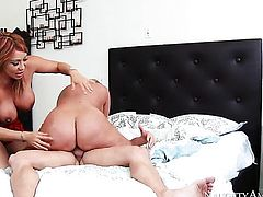 Blonde oriental Ava Devine finds man sexy and takes his meat pole in her hands eagerly