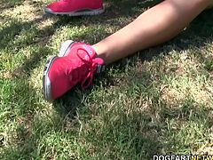 Nikki's first time with a black cock sees her showing her ass to Brian while her feet go into overtime. Nikki Blake continues to tease her first BBC right before it glazes her toes with its creamy goodness.