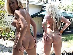 Blonde Nicole Aniston with phat bottom gagging on dudes rock hard love wand