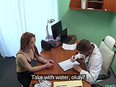 This redhead horny patient wanted to know her doctor's opinion about her breasts, therefore she came here to visit him. She thought about silicone implants and wanted to get his advice. The doctor asked her to bend over and shoved his long dick in her pussy from behind. This was the right medicine from her stupid thoughts...