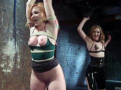 Truly it was wonderful! First, Mona whipped her slave's big butt cruelly, but then she groped her soft titties and licked her wet pussy sensually. This sudden change in the mood and actions incredibly ons. And tied Sophia, obeyed every wish of her mistress, moaning from pleasure. Relax and enjoy hot lesbian bdsm action!