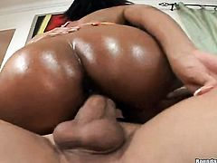 African with huge melons and hairless pussy enjoys dudes pulsating boner deep inside her pussy hole in interracial sex action