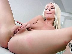 Polli with tiny boobs and smooth muff stripping down to her bare skin