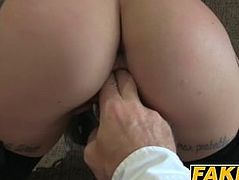 Black haired slut Kirsty enjoys riding casting agents cock