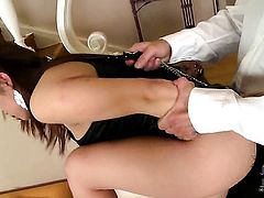 Asian Tigerr Benson with gigantic hooters and shaved muff is on the edge of nirvana with cream in her mouth