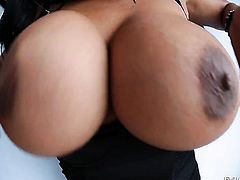 Brunette latin Kevin Moore with giant jugs is so close to orgasm after a few minutes of fucking with her fuck buddy
