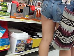 blonde in shorts ass cheeks hanging  daisy dukes