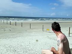 Jerking off on the beach