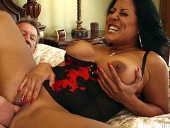 Kiara Mia in her sexy lingerie gives her husband a good way to relax rather than working overtime at home. Sucking and fucking her husband's big dick is a way better work than office work.