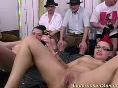 extreme crazy chubby big breast slippery girls in a wild gangbang fuck orgy