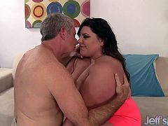 Cock hungry BBW gets her tits sucked and she sucks his fat dick. Then takes his dick in her pussy and start riding until he cum in her mouth. She swallows his cum.