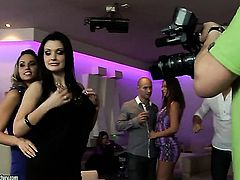 Brunette pornstar Aleska Diamond with gigantic melons has fire in her eyes as she gets her mouth banged by her bang buddy