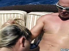 Blonde Captain with smooth cunt getting satisfaction with guys cock in her sweet mouth