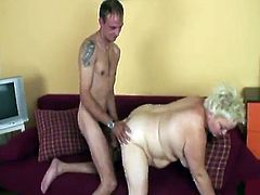 Voluptuous blonde with huge curves is banged in a passionate way