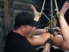 Cheyenne got strongly tied up with ropes, so any hope to escape vanishes away... A merciless executor turned the basement into a place for kinky bdsm activities! Click to watch the man stuffing a dildo in this moaning slut's ass and cunt. Enjoy.
