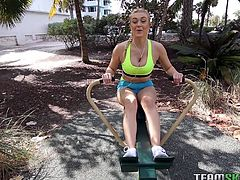 When Natalia Starr was sweating out in a park, a stud approached her with a fucking proposal. Without second thought, the cock thirsty babe agreed to suck his dick for money. He took her to his apartment and made her lick his cock nicely, and properly. He was really happy with his choice.