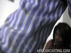 This sexy African bitch desperately wants to be a porn star! She is willing to do everything, even if it means getting humiliated and pounded hardcore in front of the camera, just to reach her goal. Gotta love needy girls, especially the ones with skilled mouth, like hers!
