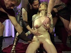 This crowned priestess is just craving to get dirty. Her wish becomes reality and four horny men show up, to accomplish her kinky rough fantasies. Click to watch busty Christie, sucking dicks on knees. Enjoy!