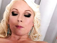 Lena Cova parts her legs to fuck herself, take vibrator in her dripping wet slit