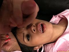 Young ladyboy Mac in sexy nurse outfit spreads her legs, jerks off and cums. After it she uses her tongue to help guy to cum over her lips and nose.