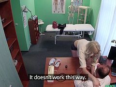 This blonde sexy patient needs some special stamp on her medical certificate and she is ready to do everything, to get, what she needs. Her doctor is adamant and is not going to help her, so she decided to take extreme measures. She offered him a blowjob and her sweet pussy, as reward for the stamp...