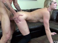 Hot blonde chick in black stockings banged hardcore