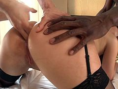Cindy Loarn gets herself two huge dicks, black and white. Guys hungrily fingering her holes, wanting to stick their cocks inside, as soon as possible. Finally, Joss Lescaf shoved his big black rod in her mouth, while Max penetrated her deep from behind. Have fun! Extremely hot interracial sex!