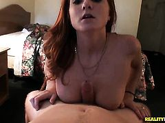 Redhead Josh with gigantic melons and trimmed bush really loves pulsating tool fucking her eager hands