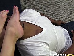 Sniff my feet, worship them, lick them and do what ever I want, when I want. There's something I love to do when giving my pussy a rest from all the big black cocks I have in my life: that's giving an interracial footjob.