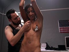 My wife loves to nag and sometimes, she is so annoying. I decided to punish her for it, to show her I'm the one, who dominates. I got her tied up and decided to play with her nipples. Then I stuck a big vibrator in her tight pussy. I think she loves to anger me, cause she really enjoys being dominated!