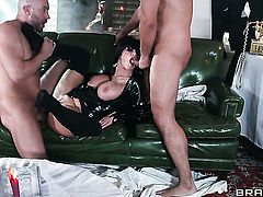Milf Joslyn James with huge knockers makes mans meat pole harder before getting her ass penetrated